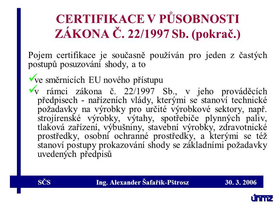 CERTIFIKACE V PŮSOBNOSTI ZÁKONA Č. 22/1997 Sb. (pokrač.)