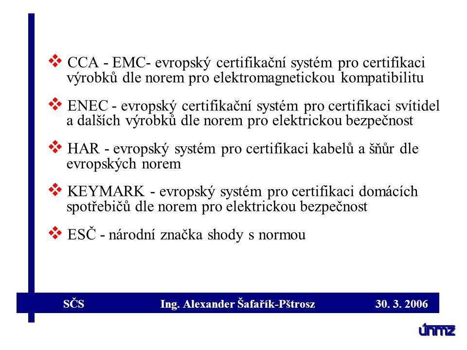 CCA - EMC- evropský certifikační systém pro certifikaci výrobků dle norem pro elektromagnetickou kompatibilitu