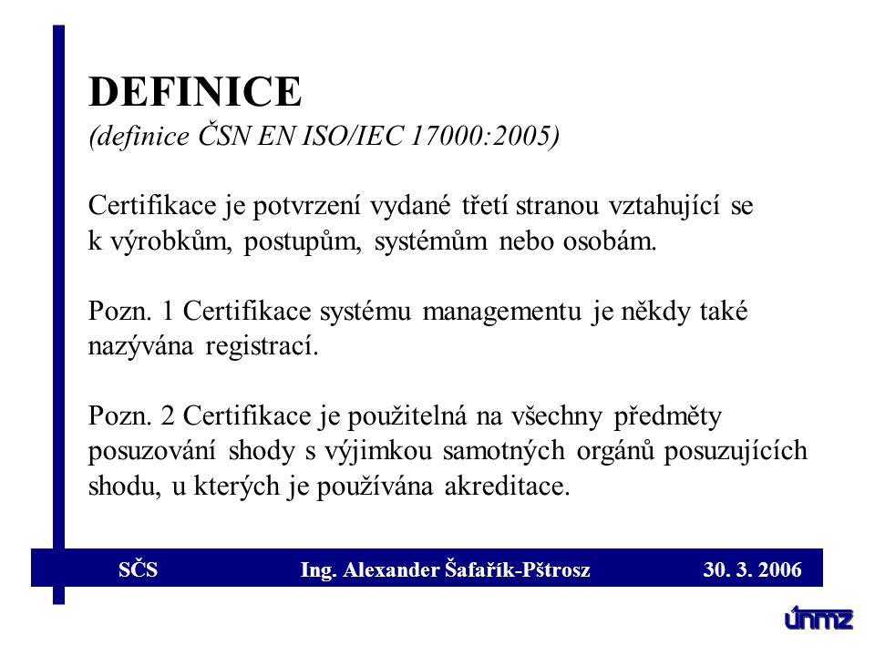 DEFINICE (definice ČSN EN ISO/IEC 17000:2005)
