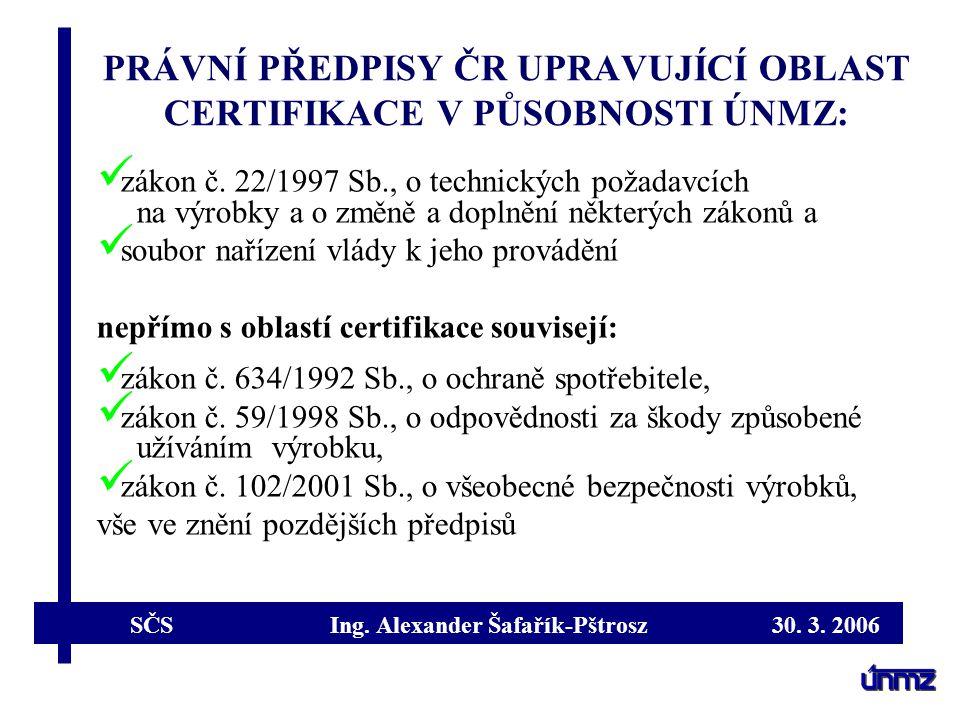 PRÁVNÍ PŘEDPISY ČR UPRAVUJÍCÍ OBLAST CERTIFIKACE V PŮSOBNOSTI ÚNMZ: