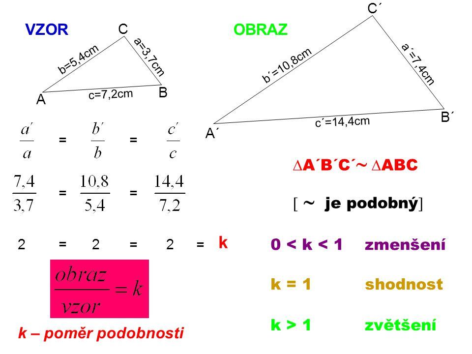 k VZOR OBRAZ A´B´C´ ABC   je podobný 0 < k < 1 zmenšení