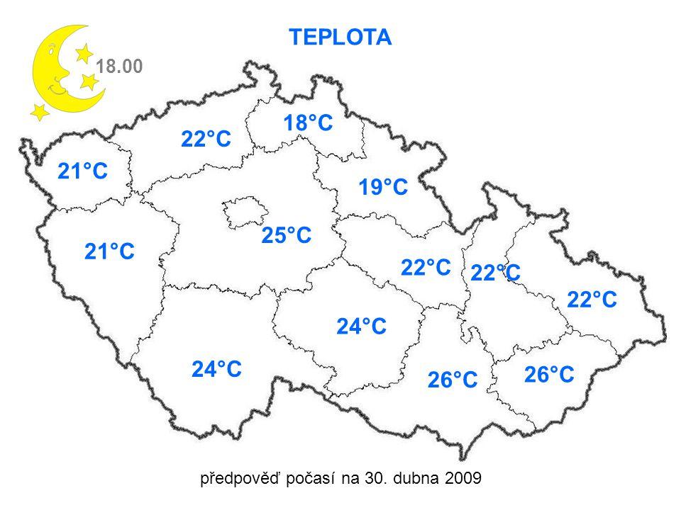 předpověď počasí na 30. dubna 2009