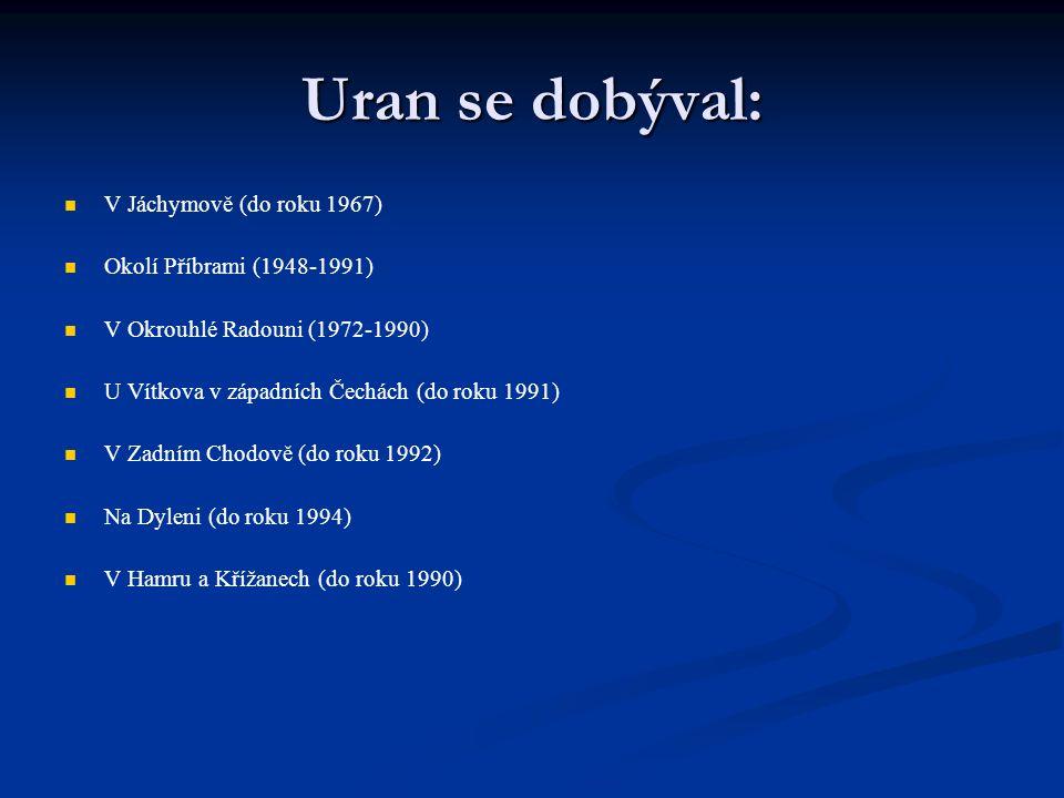 Uran se dobýval: V Jáchymově (do roku 1967) Okolí Příbrami (1948-1991)