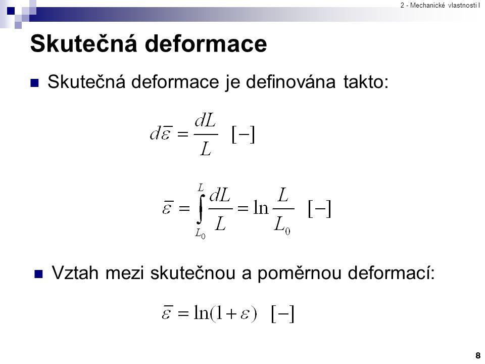Skutečná deformace Skutečná deformace je definována takto: