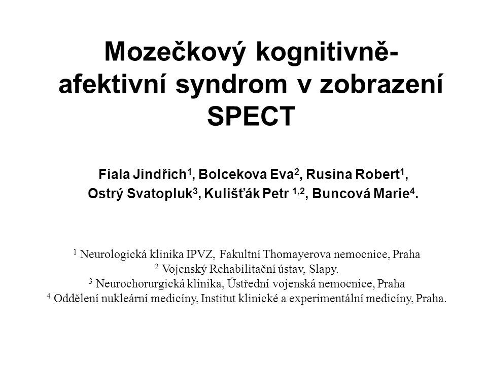 Mozečkový kognitivně-afektivní syndrom v zobrazení SPECT