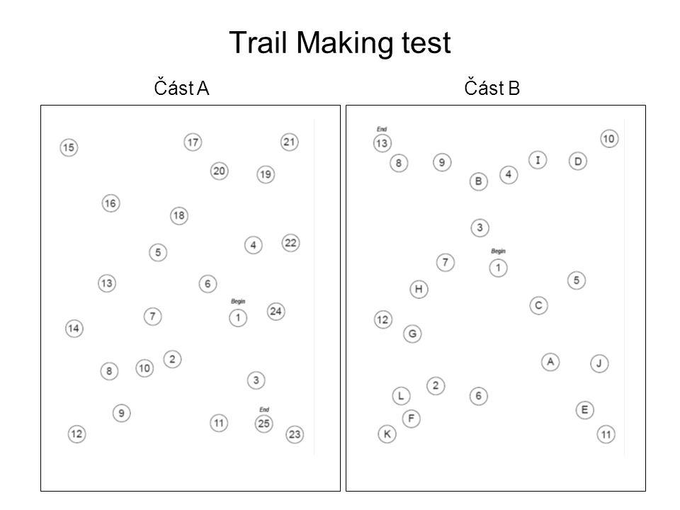 Trail Making test Část A Část B