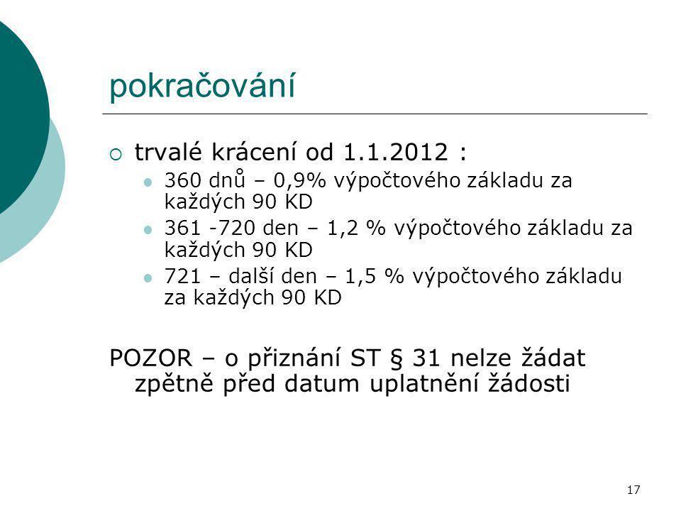 pokračování trvalé krácení od 1.1.2012 :