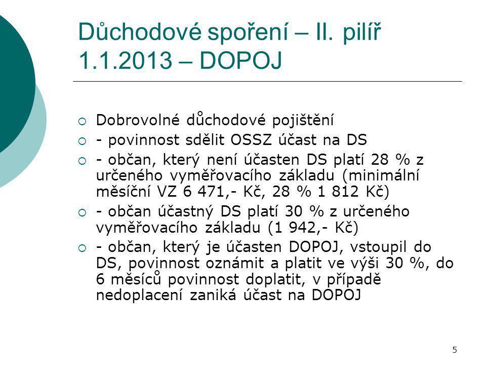 Důchodové spoření – II. pilíř 1.1.2013 – DOPOJ