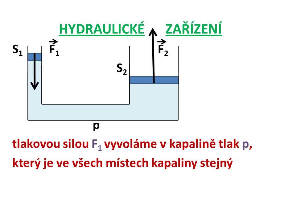 HYDRAULICKÉ ZAŘÍZENÍ S1 F1 F2 S2 p tlakovou silou F1 vyvoláme v kapalině tlak p, který je ve všech místech kapaliny stejný
