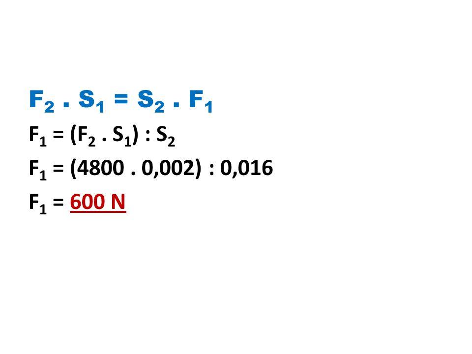 F2 . S1 = S2 . F1 F1 = (F2 . S1) : S2 F1 = (4800 . 0,002) : 0,016 F1 = 600 N