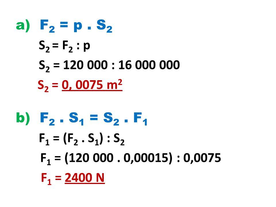 a) F2 = p . S2 S2 = F2 : p S2 = 120 000 : 16 000 000 S2 = 0, 0075 m2 b) F2 .