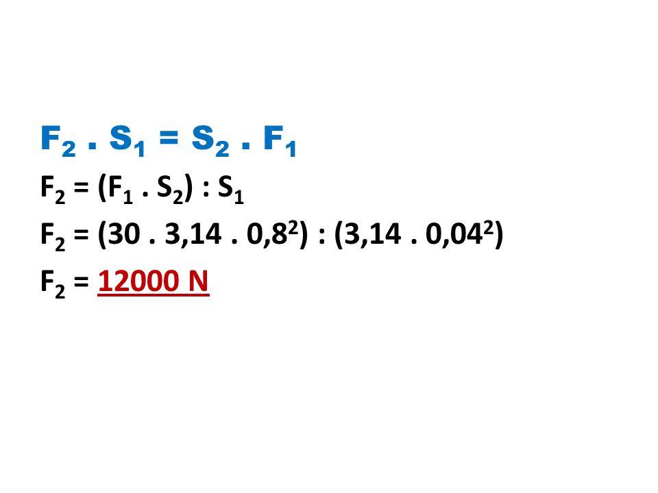 F2 . S1 = S2 . F1 F2 = (F1 . S2) : S1 F2 = (30 . 3,14 . 0,82) : (3,14 . 0,042) F2 = 12000 N