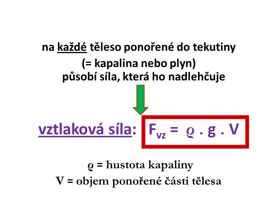 vztlaková síla: Fvz = ρ . g . V