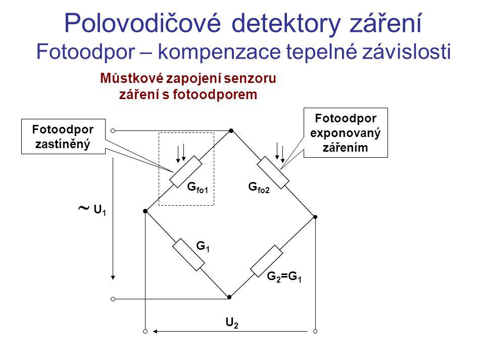 Polovodičové detektory záření Fotoodpor – kompenzace tepelné závislosti