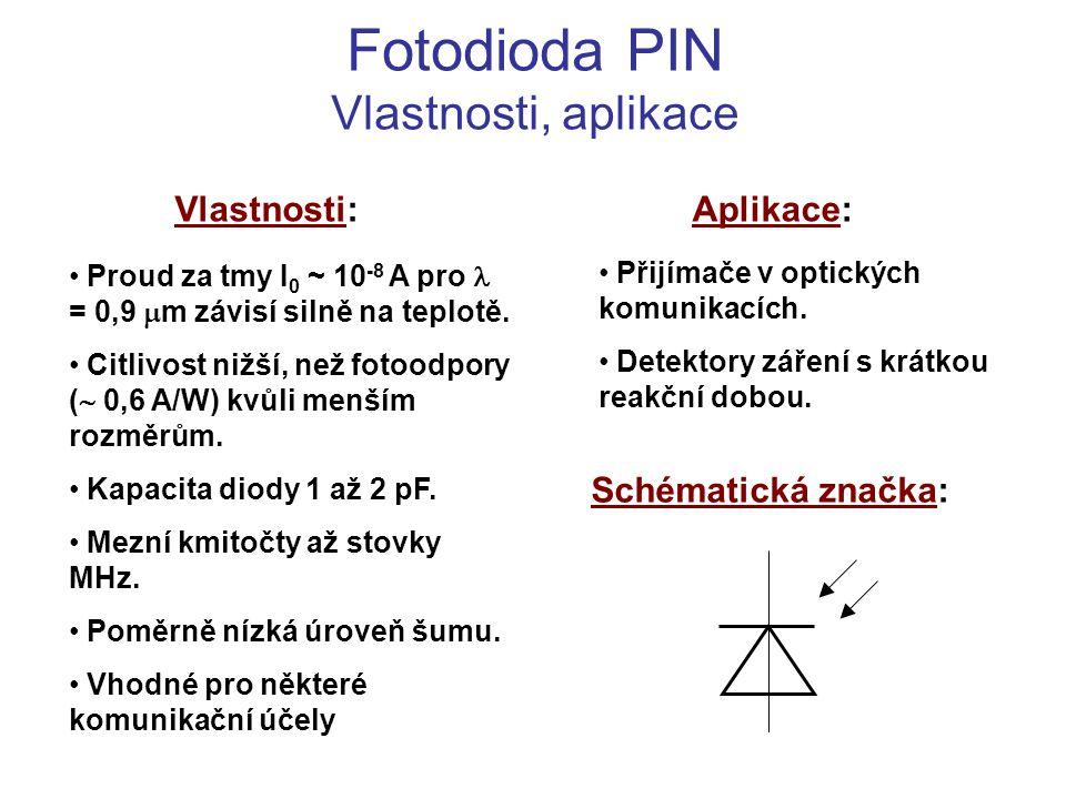 Fotodioda PIN Vlastnosti, aplikace