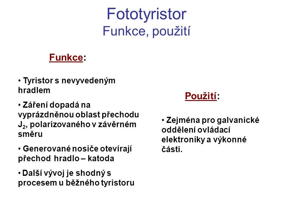 Fototyristor Funkce, použití