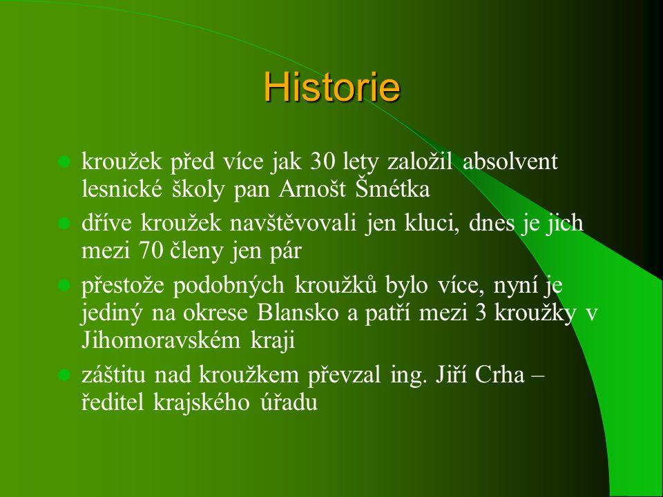 Historie kroužek před více jak 30 lety založil absolvent lesnické školy pan Arnošt Šmétka.