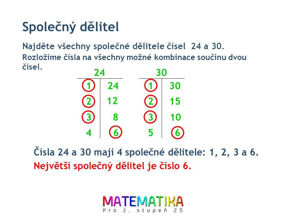 Společný dělitel Najděte všechny společné dělitele čísel 24 a 30. Rozložíme čísla na všechny možné kombinace součinu dvou čísel.