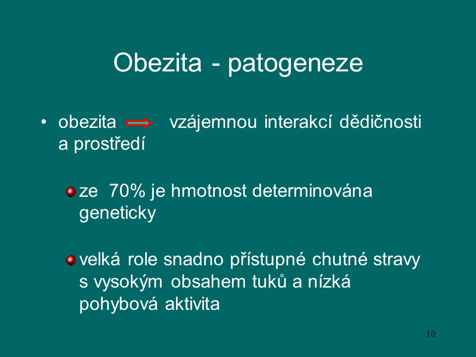 Obezita - patogeneze obezita vzájemnou interakcí dědičnosti a prostředí. ze 70% je hmotnost determinována geneticky.
