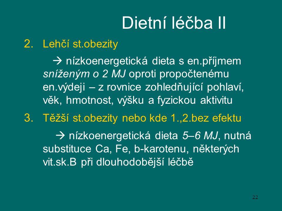 Dietní léčba II Lehčí st.obezity