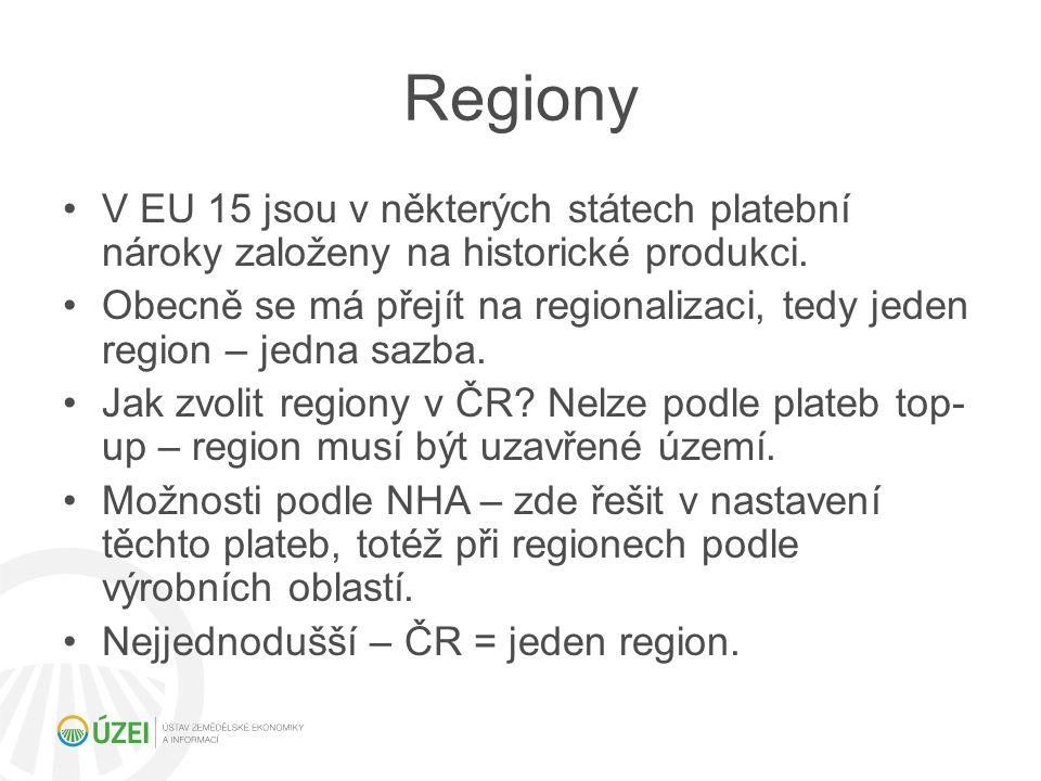 Regiony V EU 15 jsou v některých státech platební nároky založeny na historické produkci.