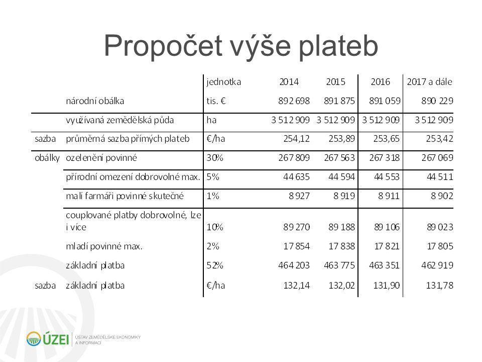 Propočet výše plateb