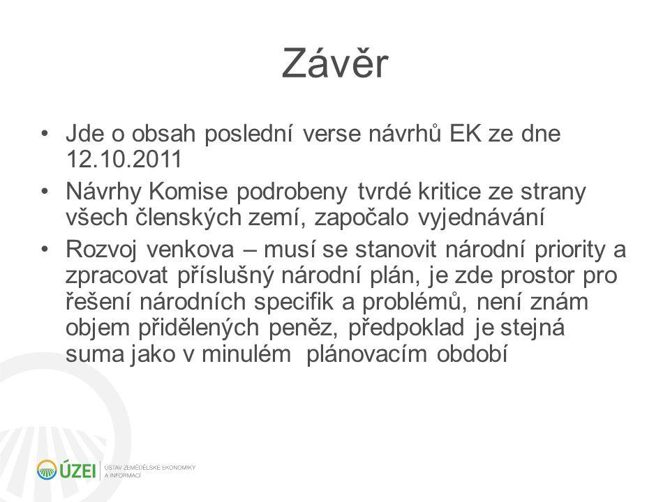 Závěr Jde o obsah poslední verse návrhů EK ze dne 12.10.2011
