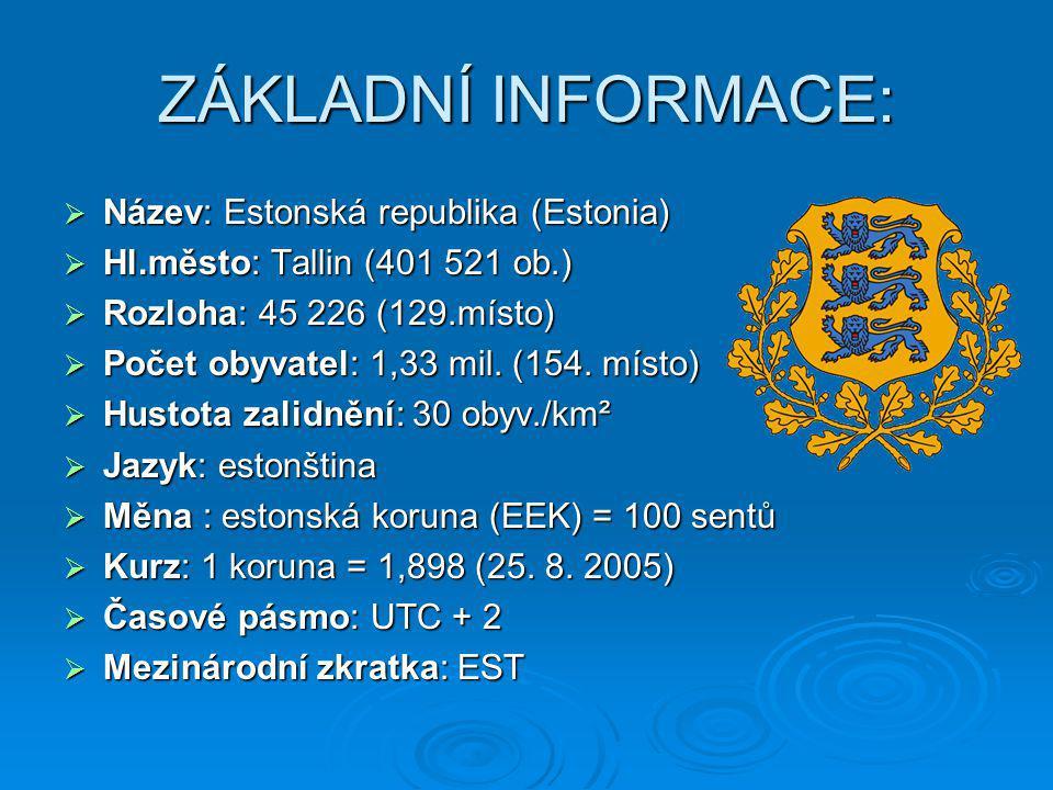 ZÁKLADNÍ INFORMACE: Název: Estonská republika (Estonia)