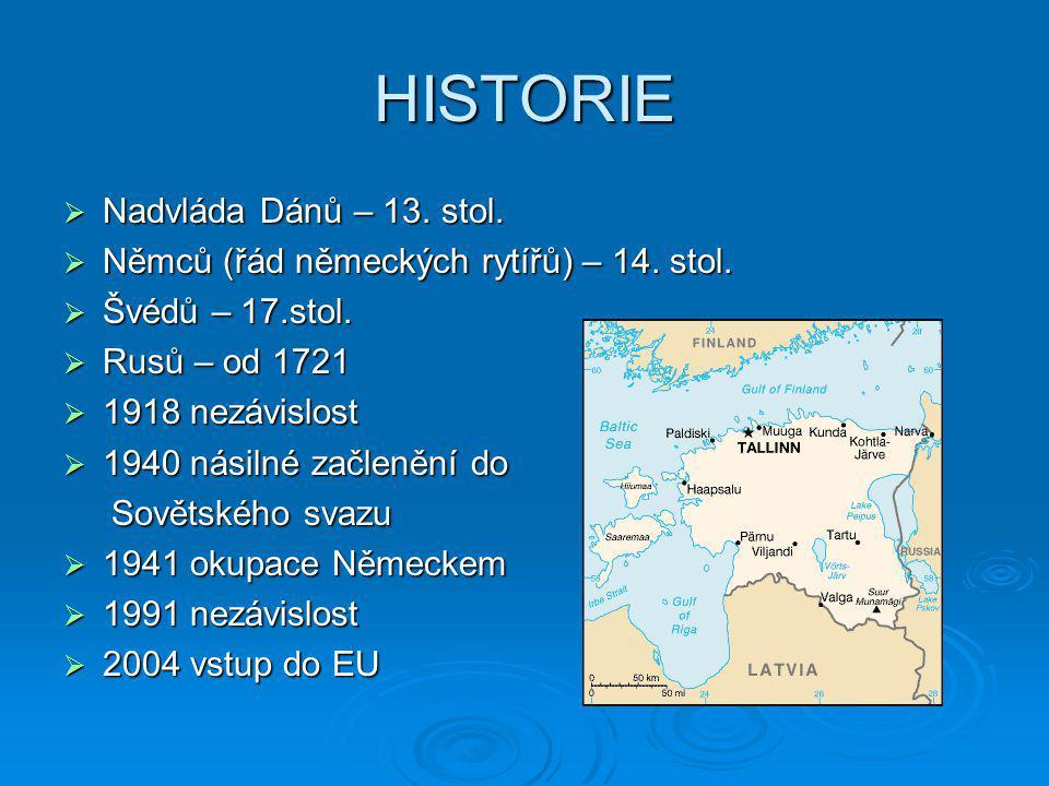 HISTORIE Nadvláda Dánů – 13. stol.