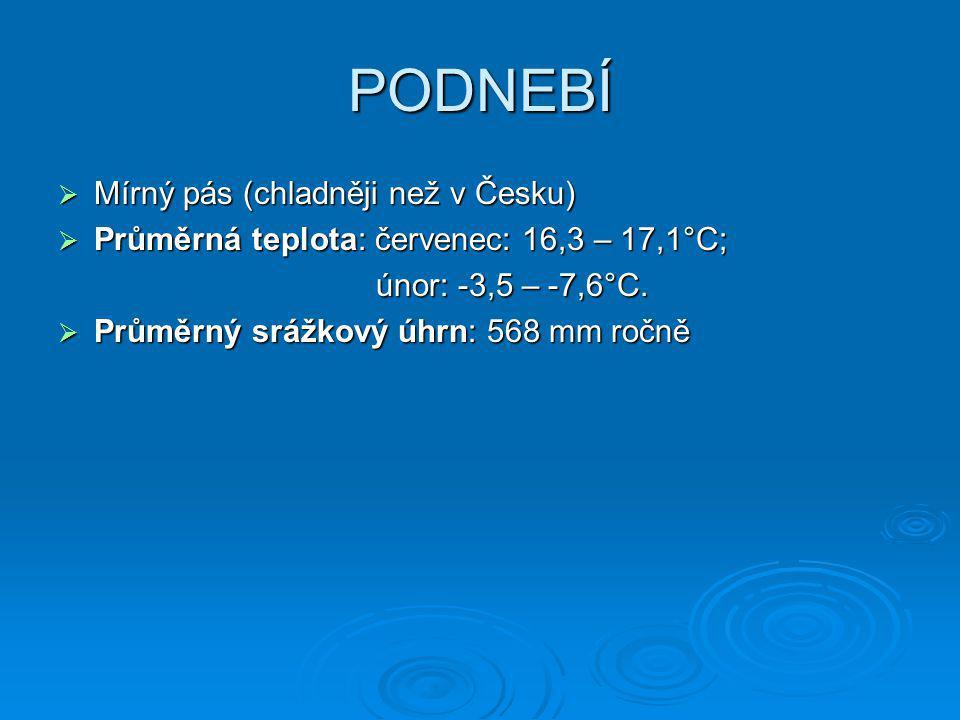 PODNEBÍ Mírný pás (chladněji než v Česku)