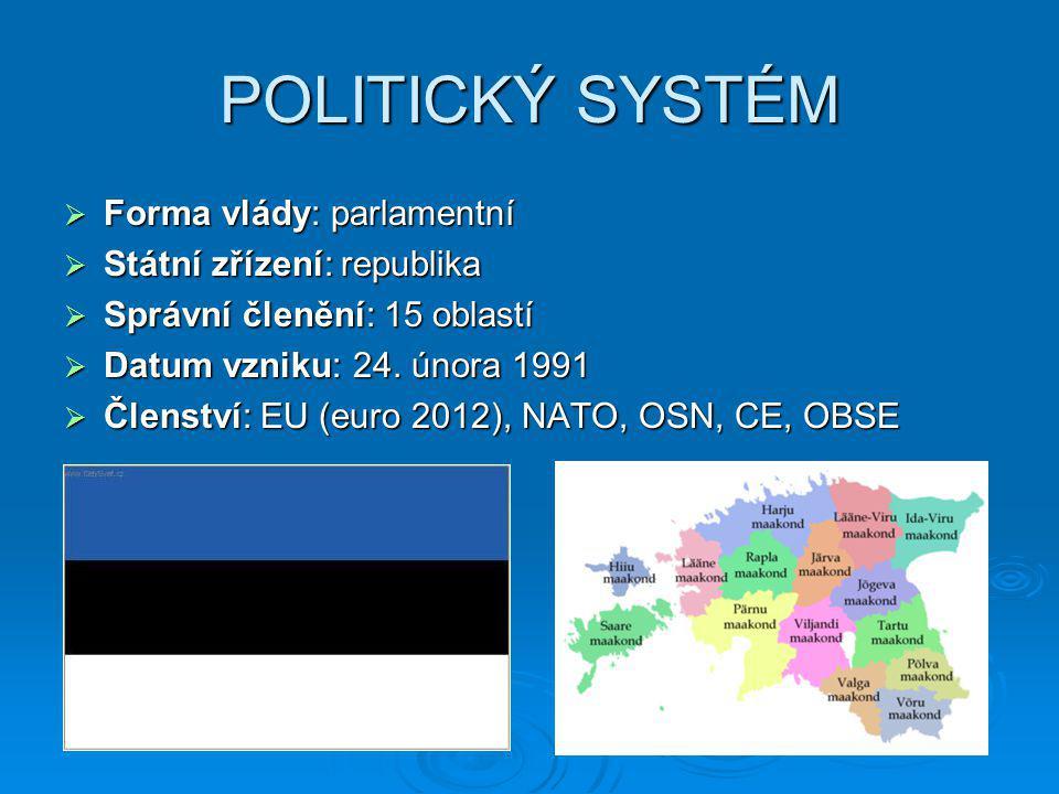 POLITICKÝ SYSTÉM Forma vlády: parlamentní Státní zřízení: republika