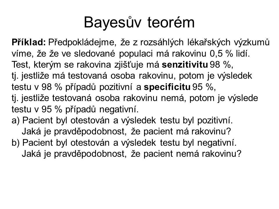 Bayesův teorém Příklad: Předpokládejme, že z rozsáhlých lékařských výzkumů. víme, že že ve sledované populaci má rakovinu 0,5 % lidí.