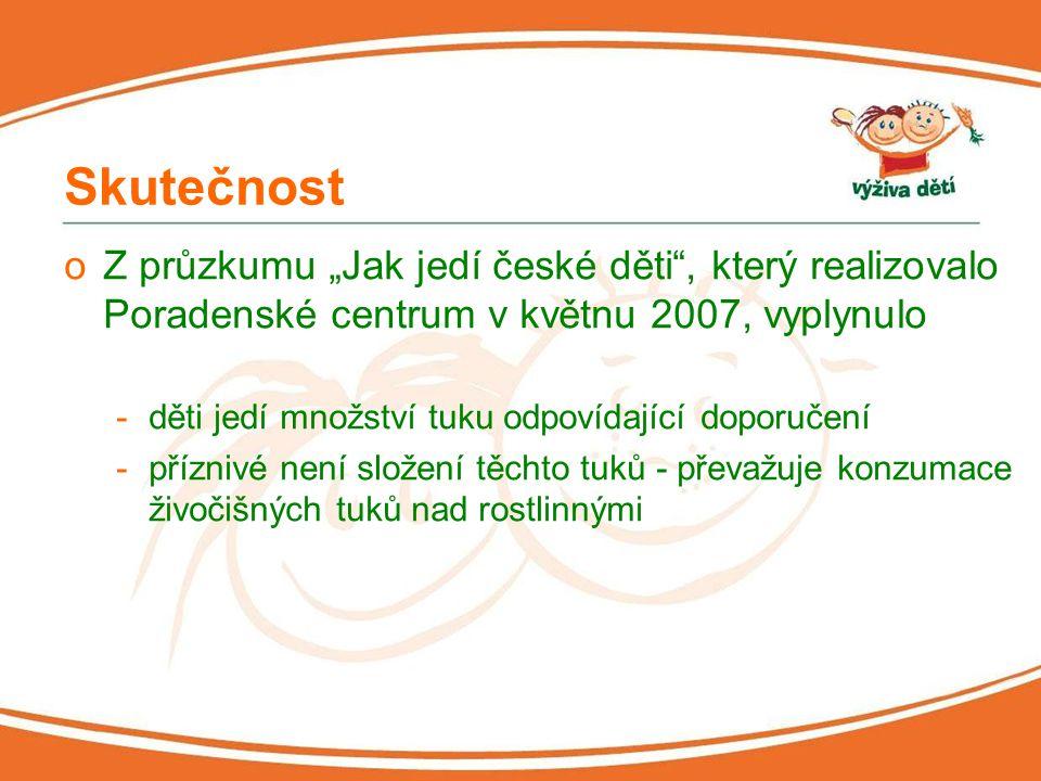 """Skutečnost Z průzkumu """"Jak jedí české děti , který realizovalo Poradenské centrum v květnu 2007, vyplynulo."""
