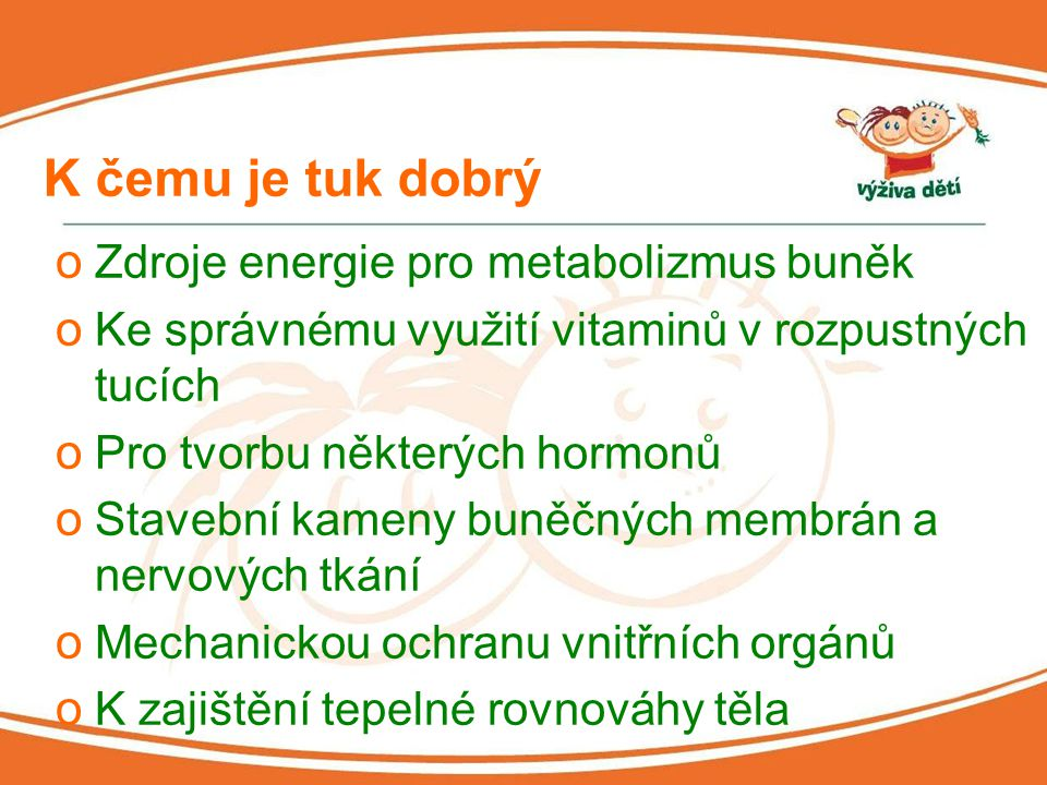 K čemu je tuk dobrý Zdroje energie pro metabolizmus buněk