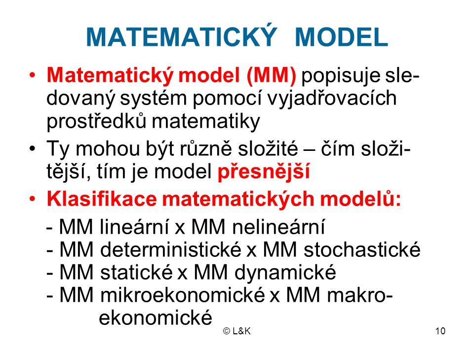 MATEMATICKÝ MODEL Matematický model (MM) popisuje sle-dovaný systém pomocí vyjadřovacích prostředků matematiky.