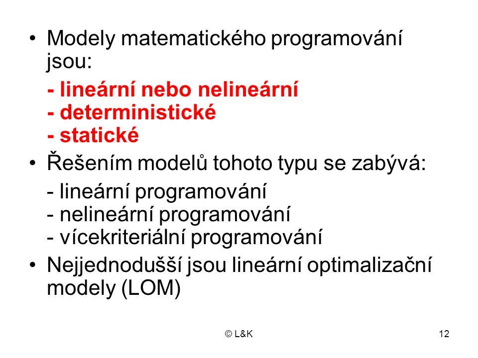Modely matematického programování jsou: - lineární nebo nelineární