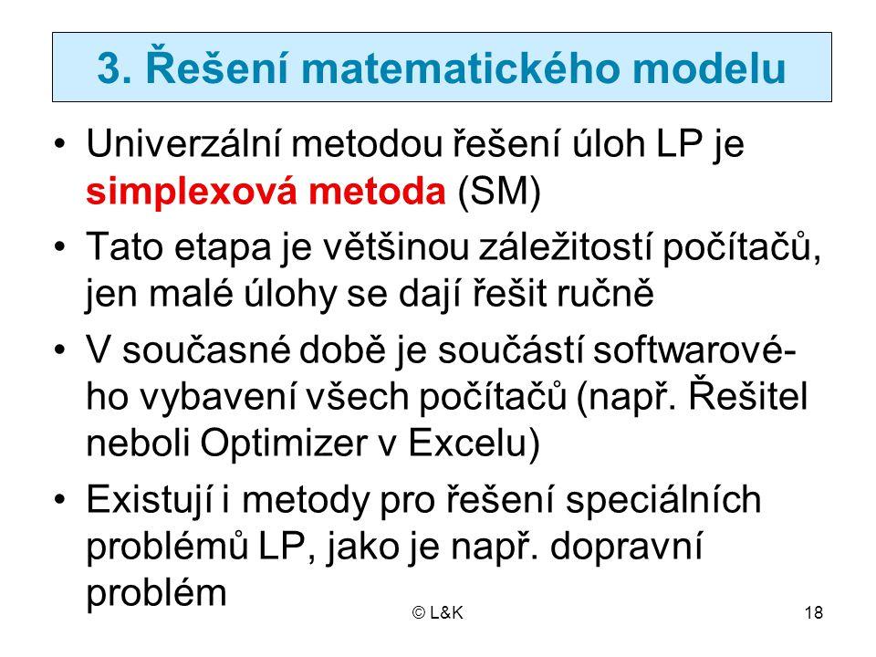 3. Řešení matematického modelu