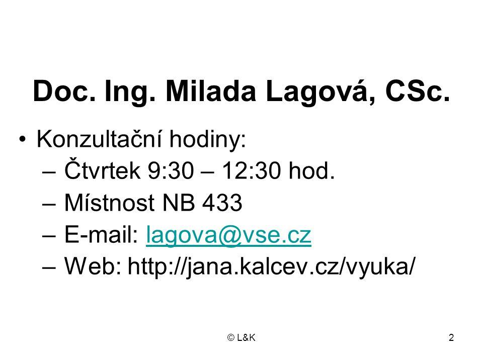 Doc. Ing. Milada Lagová, CSc.