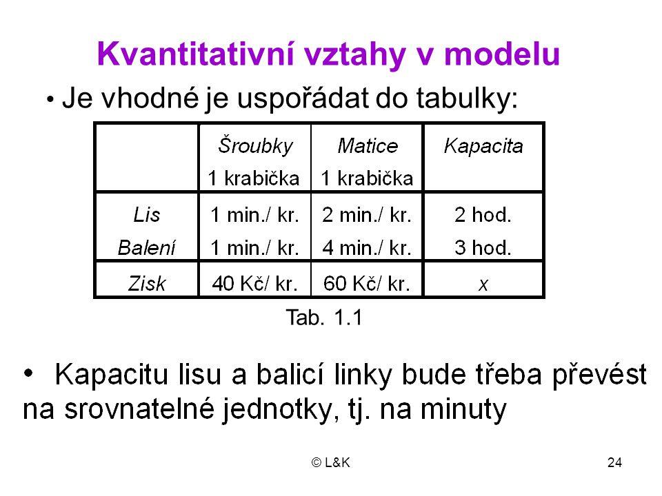 Kvantitativní vztahy v modelu