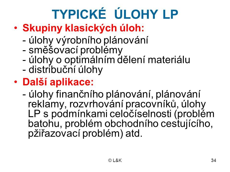 TYPICKÉ ÚLOHY LP Skupiny klasických úloh: - úlohy výrobního plánování