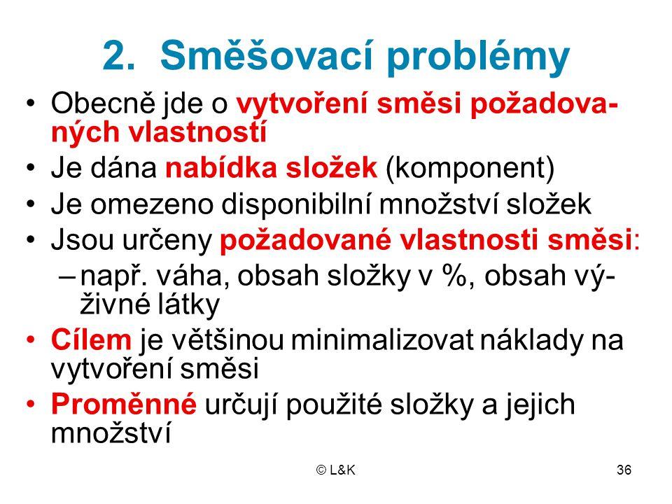 2. Směšovací problémy Obecně jde o vytvoření směsi požadova-ných vlastností. Je dána nabídka složek (komponent)
