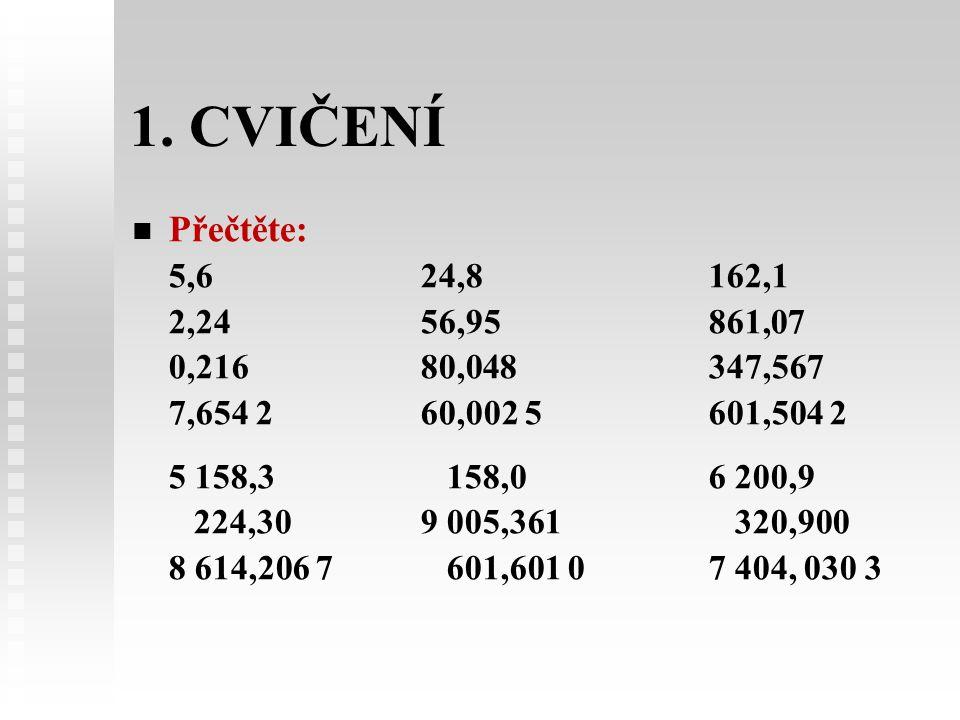 1. CVIČENÍ Přečtěte: 5,6 24,8 162,1. 2,24 56,95 861,07. 0,216 80,048 347,567.