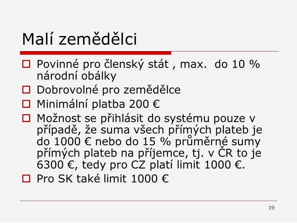 Malí zemědělci Povinné pro členský stát , max. do 10 % národní obálky
