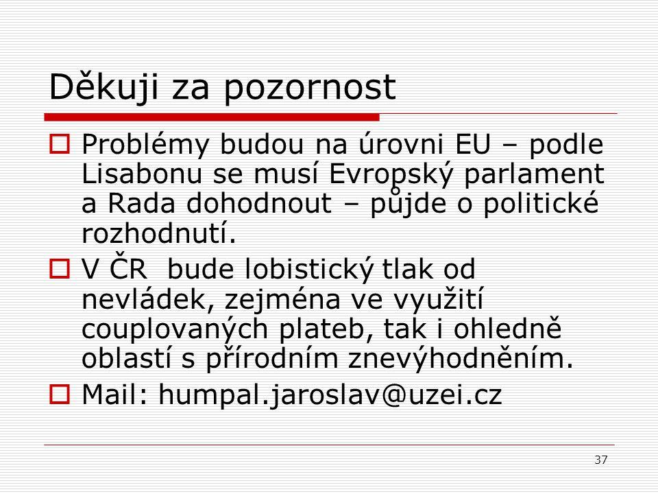 Děkuji za pozornost Problémy budou na úrovni EU – podle Lisabonu se musí Evropský parlament a Rada dohodnout – půjde o politické rozhodnutí.