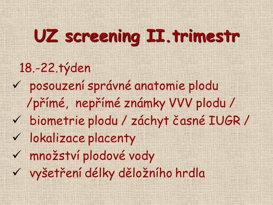 UZ screening II.trimestr