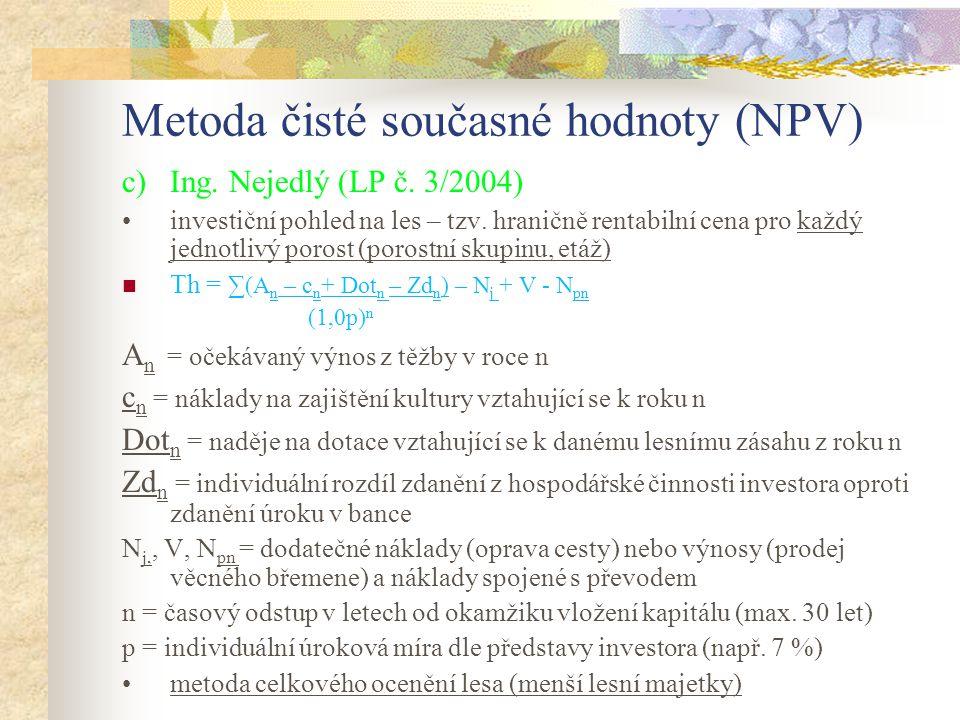 Metoda čisté současné hodnoty (NPV)