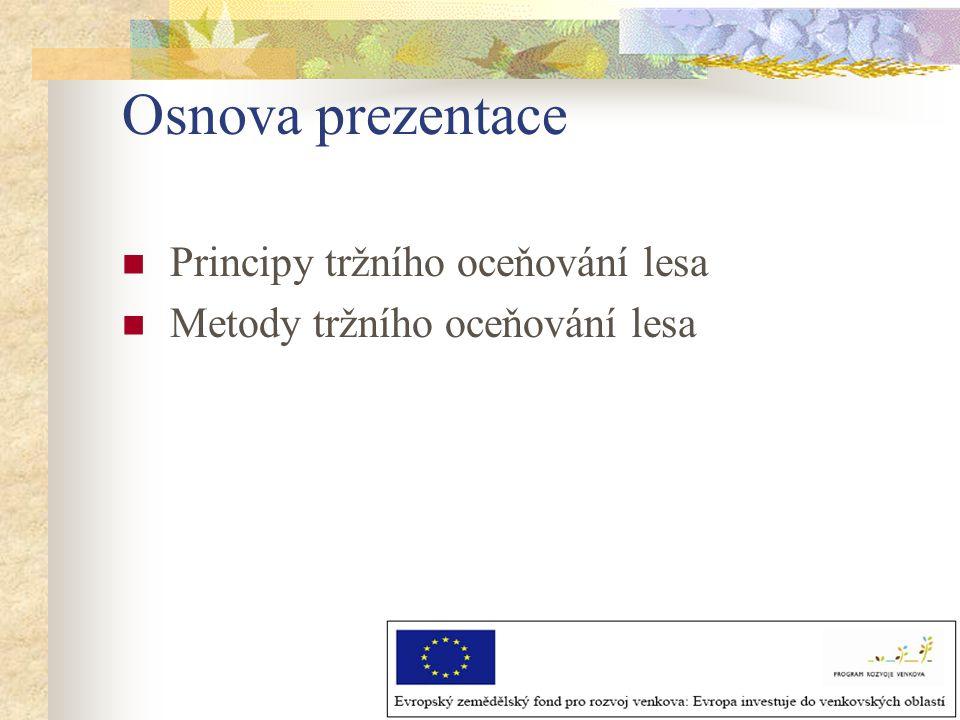 Osnova prezentace Principy tržního oceňování lesa