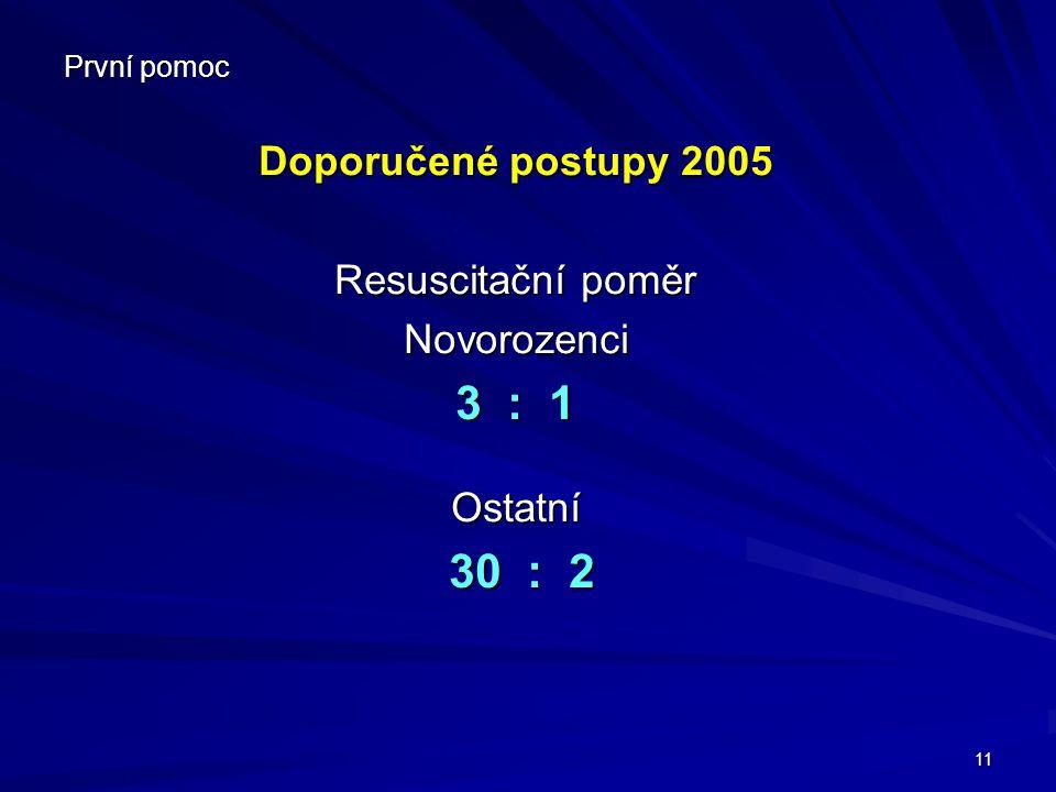 3 : 1 30 : 2 Doporučené postupy 2005 Resuscitační poměr Novorozenci