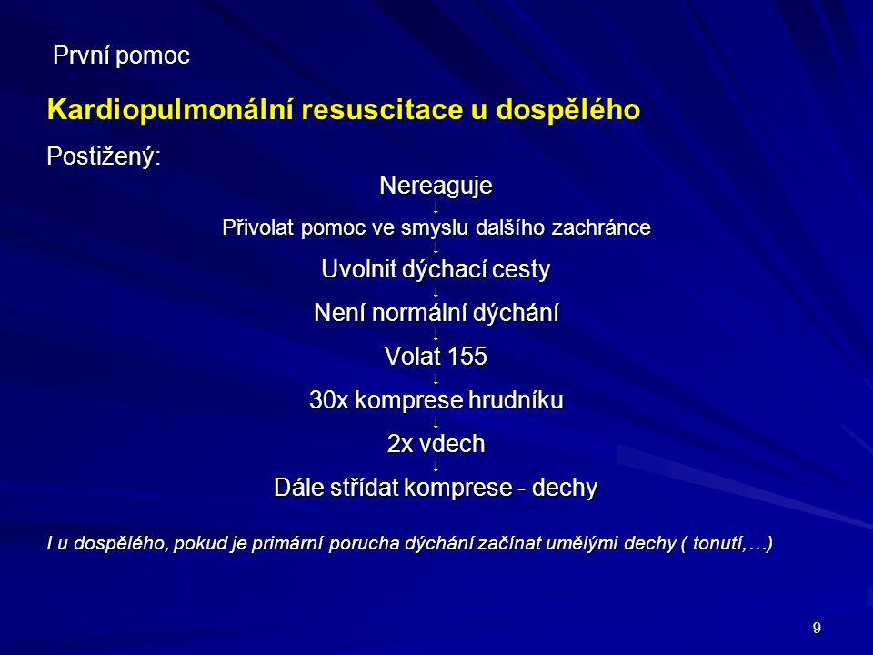 Kardiopulmonální resuscitace u dospělého