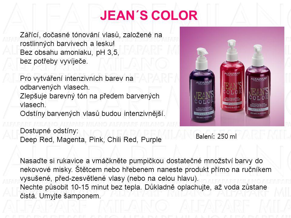 JEAN´S COLOR Zářící, dočasné tónování vlasů, založené na rostlinných barvivech a lesku! Bez obsahu amoniaku, pH 3,5,